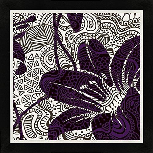 LD LDM 35081, Kristin Emery, PATTERN FLOWERS I, Bild mit Bilderrahmen, Digitaldruck, doppelt gerahmt, verschiedene Größen, Echtholzrahmen, Handarbeit, Einzelanfertigung (Schwarz / Weiß, 40 x 40 cm)