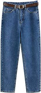 N\P Father Jeans - Pantalones vaqueros para mujer, de cintura alta, delgada, otoñal, color negro, suelto, cintura alta