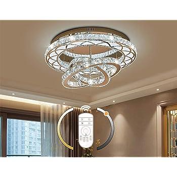 LED Kristall Deckenleuchte Wohnzimmer lampe Modern Ringe Design Deckenlampe  Decke Leuchte Dimmbar mit Fernbedienung Schlafzimmer Studierzimmer