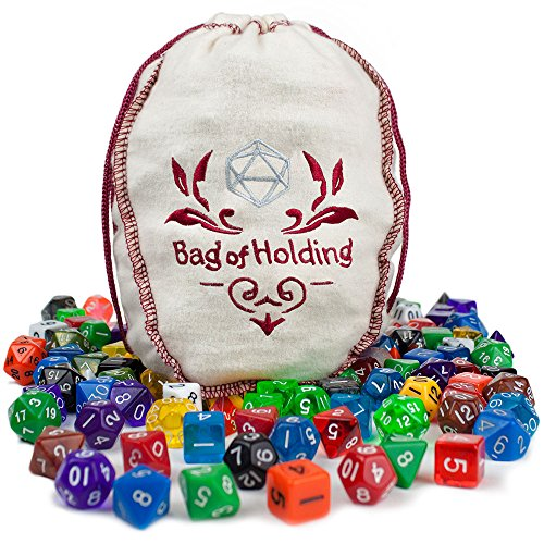 Wiz Dice Bag of Holding: Collection of 140 Polyhedral Dice in 20 Guaranteed Complete Sets for Tabletop Role-Playing Games