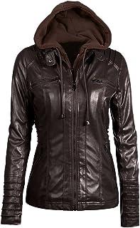 Funien Women's Faux Leather Hoodie Jacket Hoodie Short Slim Motorcycle Jacket Coat