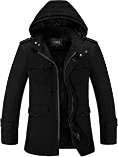 Mens Classic Zipper Up Pea Coat with Removable Hood & Fleece Lining