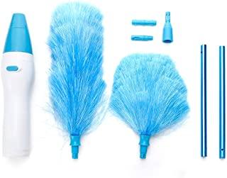 TOMYEER Adjustable Electric Feather Duster Vacuum Cleaner Battery Operated with Touch Button, Blue