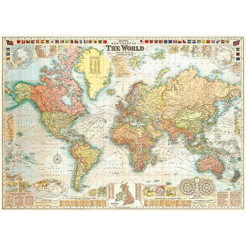 Cavallini & Co. Mapa del Mundo Póster Collage Papel de regalo decorativa hoja