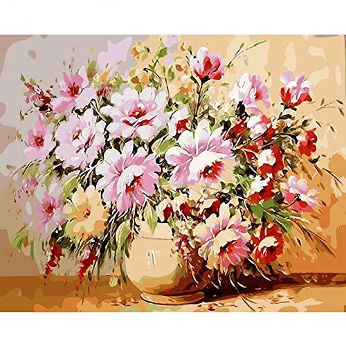 Dibujo de adultos por número Flores rosadas Kit de pintura al óleo para niños DIY Seniors Junior -Sin Marco 16x20 Inch