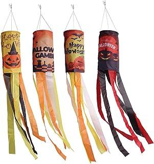 CHWARES 40 Inch Halloween Flag Windsock, Pumpkin Ghost Castle Halloween Windsock Flag Hanging Decoration Patio Lawn Garden...