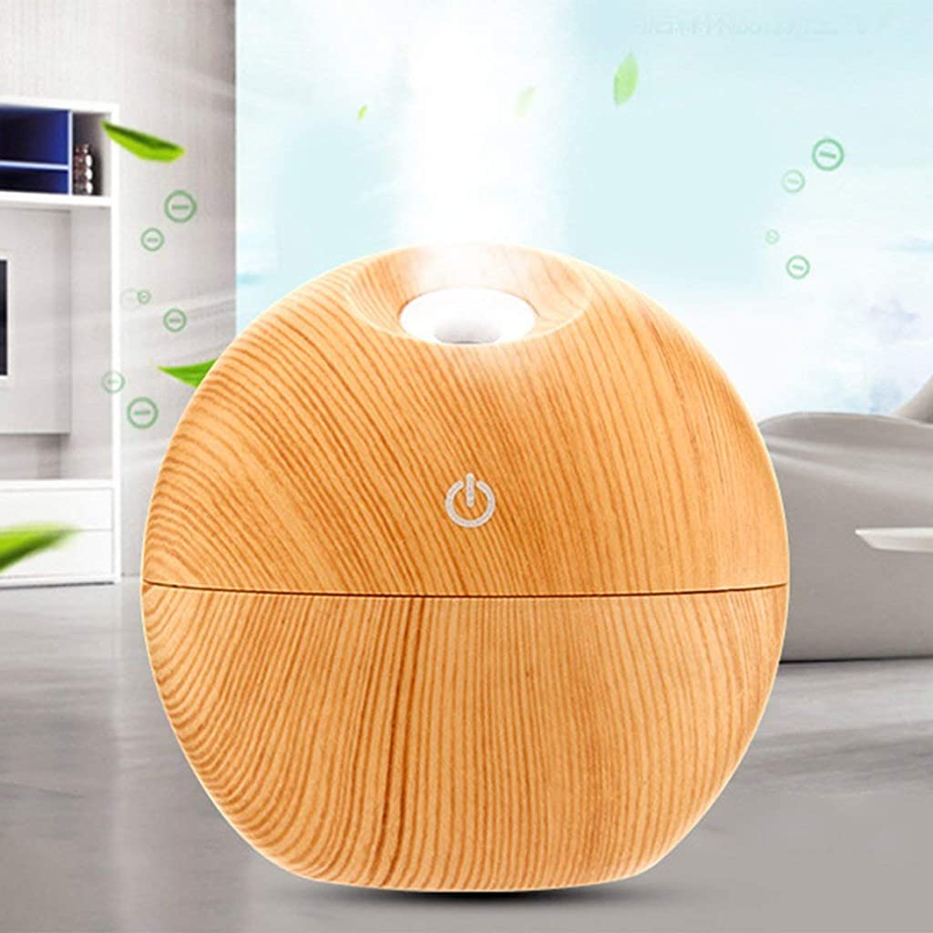ピボット口サリークリエイティブラウンドボール空気加湿器エッセンシャルオイルディフューザーカラフルなledナイトライト空気清浄機用ホームオフィスアロマセラピー - ライトウッド穀物