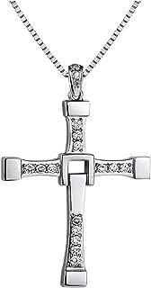 Yellow Chimes Vin Diesel Smart Cross Pendant in Austrian Crystal 18K Platinum White Gold Plated for Men