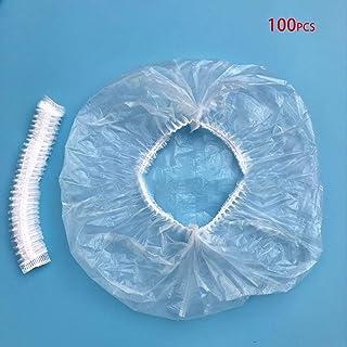 YUCHENG 使い捨てシャワーキャップ 100枚セット 個別包装 化粧帽 髪を染める 透明 油煙を防ぐ 浴用帽子 耳栓付き (ホワイト)