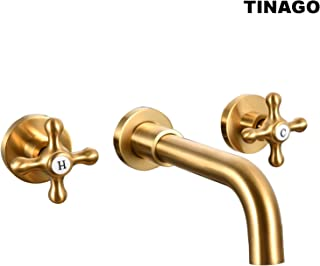 TINAGO Wall Mounted Bathroom Vanity Sink/Bathtub Faucets Cross Handles Mixer Valve and Spout Set-Brushed Gold/Champagne Bronze