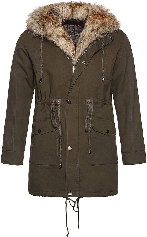 Stoota Men's Winter Thicken Faux Fur Coats Puffer Jacket, Medium Length Outwear Windproof Down Cotton Coat Warm Jacket