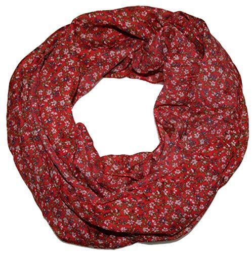 ACC Blumen Damen Loop Schal aus Seide & Baumwolle/Seidenschal (Blümchen rot)