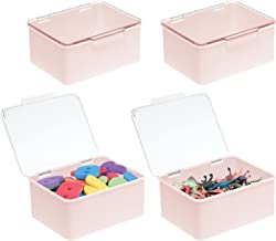 mDesign Plastic Stacking Organizer Toy Box with Attached Lid for Storage of Action Figures, Crayons, Markers, Building Blo...