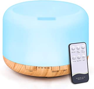 Tenswall Diffuseur d'arômes - 500ML - Humidificateur à ultrasons - Télécommande - Humidificateur électrique - Diffuseur d...