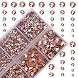 4000Pcs Mixed Size Hot Fix Round Crystals Gems Glass Stones Hotfix Flat Back Rhinestones (Champagne)