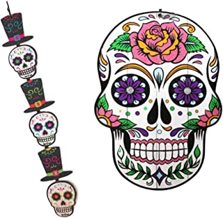 Humble Things Day of The Dead Sugar Skulls Wall Hanging Set Large Plaque and Glitter Dangling Banner (Large Pink Rose)