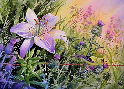 5D Diamond Painting Kit for Adults Kids Purple Lilies Among Thorn Bushes DIY Arts Craft for Home Wall Decor Birthday Gifts