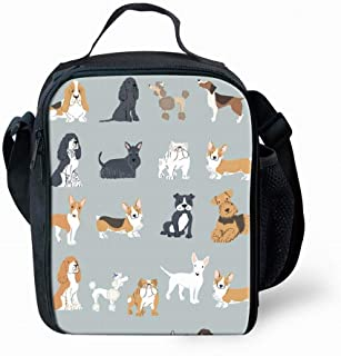 School Cute Dogs Pattern Print Lunch Bag For Kids Girls Boys Durable Handbag Tote Bag Reusable Insulated Lunch Box