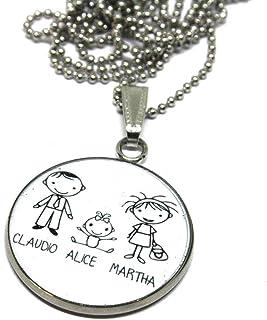 Collana Famiglia - Ciondolo famiglia - Collana Famiglia - Crea il ciondolo della tua famiglia - Collana personalizzabile -...
