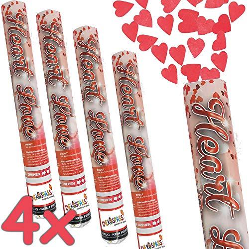 4 x * KONFETTI Shooter - ROTE Herzen * als Konfetti-Kanone | für Hochzeit, Standesamt und Valentinstag | Party-Gag sprüht kleine Herzen bis zu 8m | Geburtstag Vermählung Deko