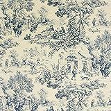 Toile de Jouy – stahlblau — Meterware ab 0,5m — zum Nähen von Kissen/Tagesdecken & Decken