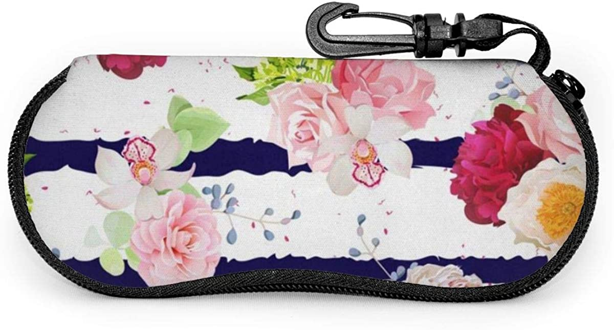 Navy Striped Print With Roses Floral Decor Sunglasses Soft Case Ultra Light Neoprene Zipper Eyeglass Case With Key Chain