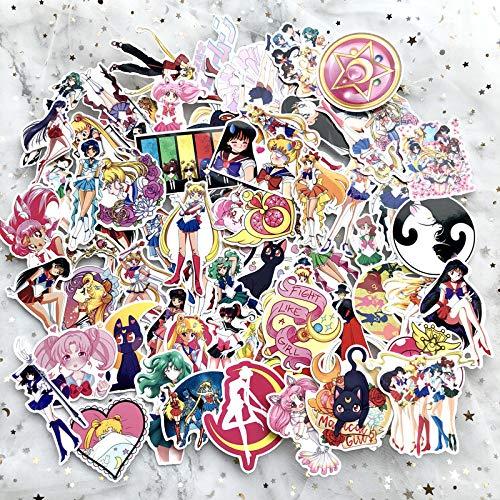 ZNMSB 75 Pegatinas de Maleta de Sailor Moon, Pegatinas de Maleta con Ruedas de Dibujos Animados Bonitos, Agua, Hielo, Luna
