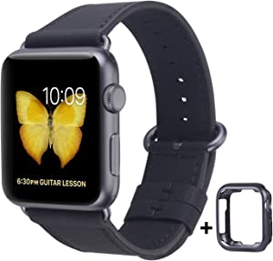 JSGJMY Leather Band Compatible with Apple Watch 38mm 40mm 42mm 44mm Women Men Strap for iWatch SE Series 6 5 4 3 2 1(Black with Space Grey Clasp, 42mm/44mm M/L)
