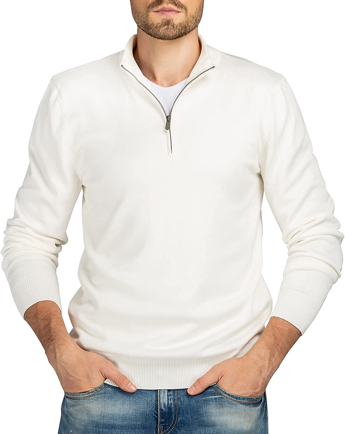 We1Fit Men's Quarter Zip Sweaters Slim Cotton OFFicial store Max 65% OFF Knitted T Fit Mock