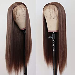 """Missyvan Lace Front Wig Straight Hair Brown Color 22"""" Long Wigs Glueless Heat Resistant Fiber Hair Synthetic Lace Front Wi..."""