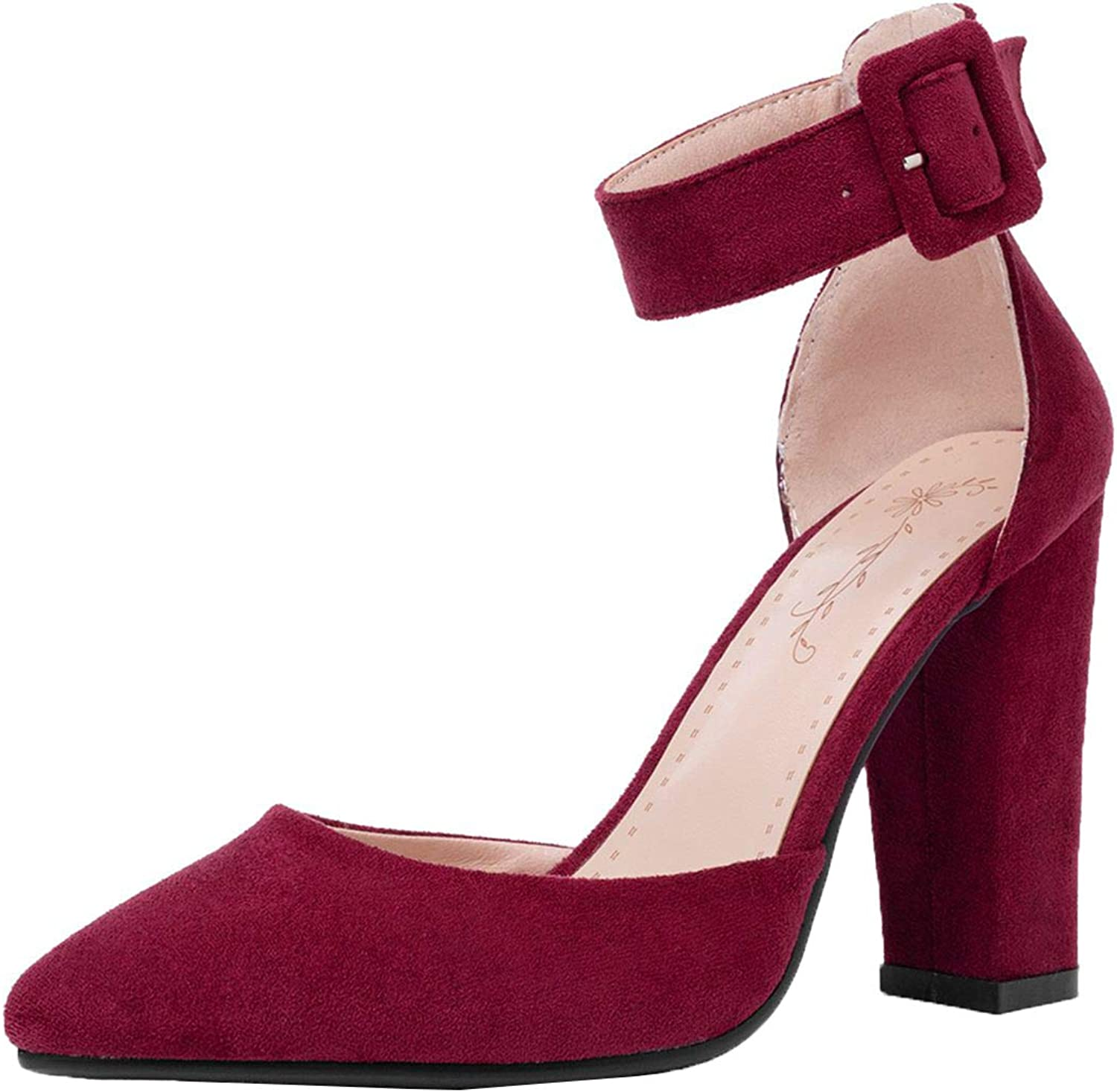 Vitalo Womens Pointed Toe Chunky Heel D'Orsay Pumps Ankle Strap Court shoes