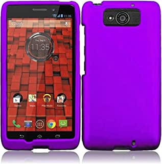 Hard Cover Case for Motorola Droid Maxx XT-1080M Droid Ultra XT-1080 Phone + Clear Screen Protector LCD (Purple)