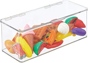 mDesign Stackable Closet Plastic Storage Bin Box with Lid - Container for Organizing Child's/Kids Toys, Action Figures, Crayons, Markers, Building Blocks, Puzzles, Crafts - Clear