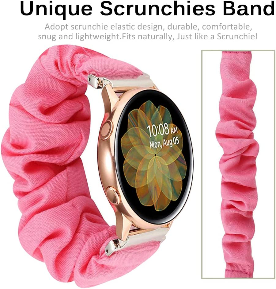 Black Miimall Compatible with Samsung Galaxy Active 2 Scrunchie Band 40mm 44mm Soft Pattern Printed Fabric Scrunchie Elastic Wrist Bracelet Strap for Samsung Galaxy Active 40mm
