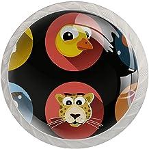 Lade knop Pull handvat 4 stuks Crystal Glass Cabinet lade trekt kast knopen,Cartoon dieren hoofden