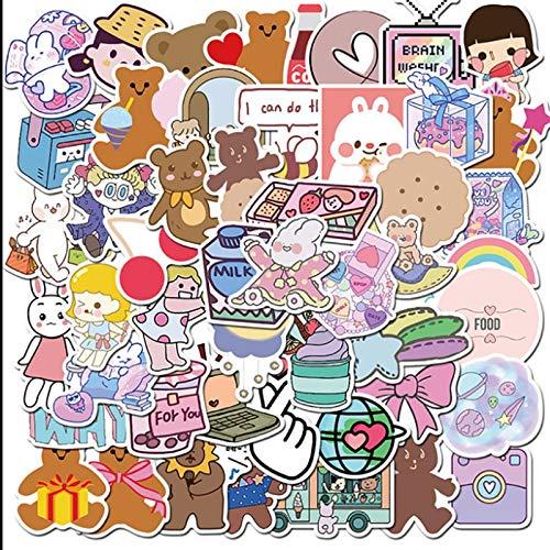 Cute Girl Bear Graffiti Waterproof Skateboard Travel Suitcase Phone Laptop Luggage Stickers Cute Kids Girl Toys 50 Pcs