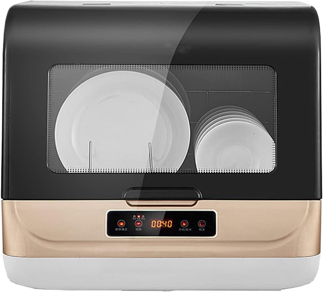 Lavavajillas de mesa automática para encimera, lavavajillas, portátil, mini lavadora, con interior de acero inoxidable y 6 posiciones de lugar, spray rotativo 360° azimut, color dorado