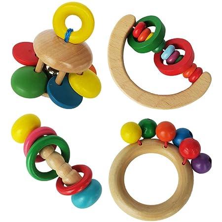 Gadpiparty Giocattoli di Legno Sonaglio per Bambino Giocattolo per Bambini in Legno Giocattoli Montessori per Neonati Set di Giocattoli per Bambini Sonagli di 4 Pezzi