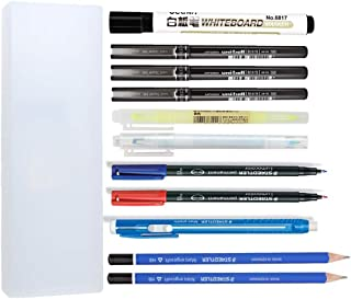 Pen and Pencil Set (Water-based Ballpoint Pens, Drawing Pencils, Highlighter with Window, Marker, Whiteboard Pen, Retractable Stick Eraser, Pen Case)
