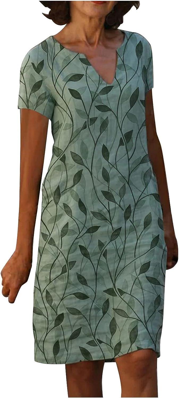 Zainafacai Women's Cotton Linen Dress Sleeveless Shift Dress with Pockets Crew Neck Casual Tank Dress Summer Midi Dresses