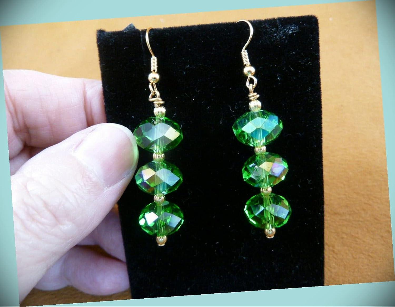 Emerald Green Austrian Crystal 12x8 Mm Gold Earrin 3 Dangle Award Bead Outlet ☆ Free Shipping