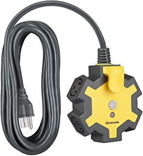 DEWENWILS Industrial Power Strip with 5-Outlet Power Hub, 15FT Heavy Duty Extension Cord for Garage, Workshop, 14/3 AWG SJ...