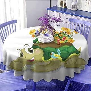 Nappe ronde motif reptile - Tortue florale humoristique - Parler avec des oiseaux colorés - Tortue Ninja - Décoration de l...
