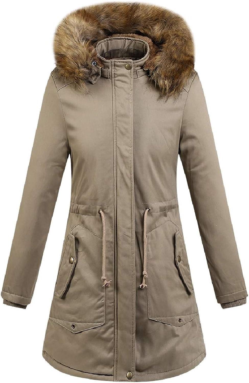 Vska Womens Fur Collar Solidcolord Plus Velvet MidLong Hood Washed Pea Coat Jacket