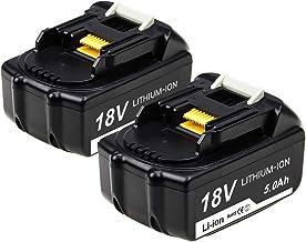 Topbatt 2X BL1850B Batería de repuesto para makita 18v 5.0Ah Li-ion BL1850 BL1860 BL1840B BL1840 BL1830 BL1835 BL1845 BL1815 LXT-400 con indicador de carga LED Herramientas eléctricas