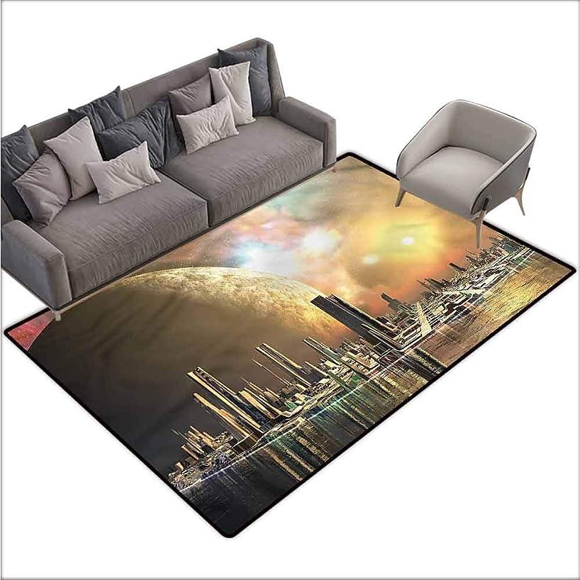Bathroom Rug Kitchen Carpet Cityscape,Utopia Metropolis Urban 48