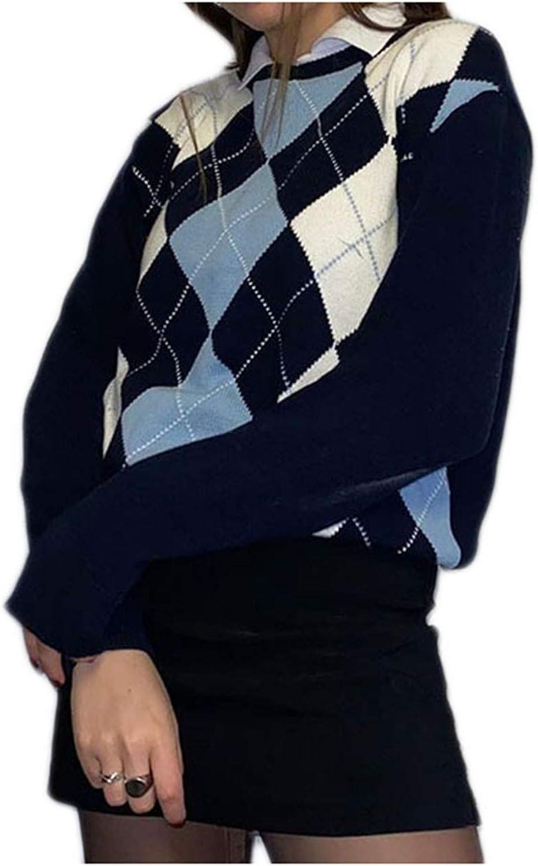 Aiwpstoin Women Fashion Knitted Vest-Autumn Casual V-Neck Sleeveless Argyle Sweater Waistcoat for Ladies Girls
