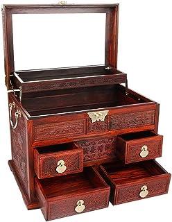WYKDL صندوق مجوهرات خشبي حلقة قلادة ومنظم القرط الإبداعية بسيطة الغبار سعة كبيرة تخزين المجوهرات مربع