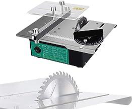 HTDHS Sierra de Mesa portátil, Mini Mesa eléctrica Sierra 120W con Hoja de Sierra multifunción y Adaptador de Corriente, Velocidad Variable 2000-12000 RPM, 0-90 ° Corte de ángulo para Manualidades de