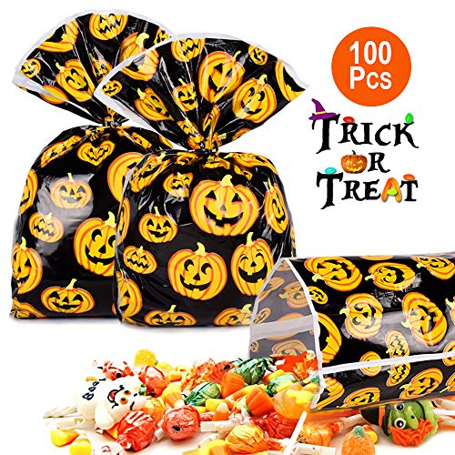 Halloween Treat Bag 100 Pcs Halloween Candy Bags For Trick or Treat Pumkin Bags for Party Favors, Snacks, Decoration, Children Arts & Crafts, Event Supplies.